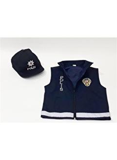 Sevimli Kids Unisex Çocuk Polis Şapka Ve Yeleği Kiyafeti Kostümü Üniforması